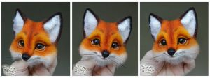 Needle Felted Brooch  Fox by YuliaLeonovich