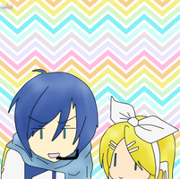 Kaito Y Rin  ---chibi wallpaper-- by Geellick