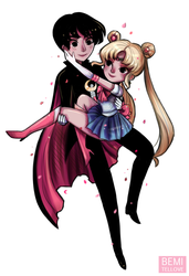 Sailor Moon and Tuxedo Mask by BemiTellove