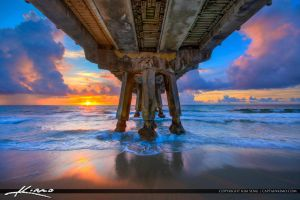 Under-the-Pompano-Beach-Pier-at-Sunrise by CaptainKimo