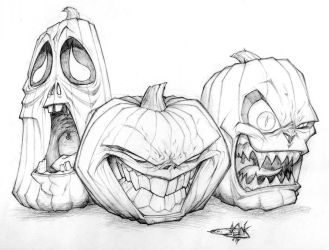 Jack-o'-lantern Trio by The-HT-Wacom-Man