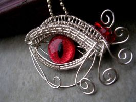 Wire Wrap - Red Egyptian Dragon Evil Eye 2 by LadyPirotessa