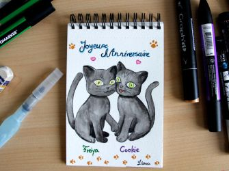 Birthday Card with black kitties by Lissou-drawing