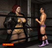 Male wrestler catches first sight of opponent by theamazonclub