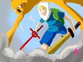 Jake the dog and Finn the Human by delusionofazombie