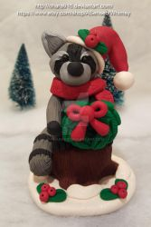 Raccoon with a Wreath by ohara916