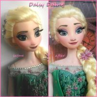 Disney's Frozen Fever Queen Elsa Ooak Doll Repaint by DaisyDaling