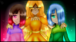 Agate, Amber, Betty - 2nd Glitchtale Anniversary by Yuki-Plume