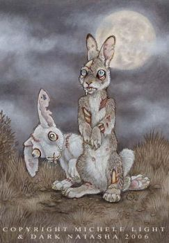 Zombie Bunnies by darknatasha