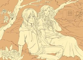 Soume and Roman in the Garden. by ougaming