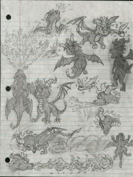 Spyro the Dragon Concept Sketch Fan Art by Taqresu650