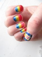 Nyan Cat Nail art by AnimeFan-3000