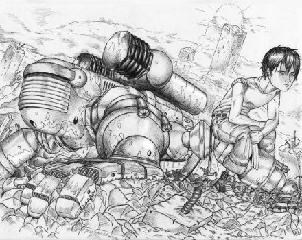 Washing the Mecha - Ink by The-G-Dreamer
