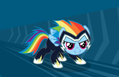 Rainbow Dash Filly in a Zap Costume - redone by imageconstructor