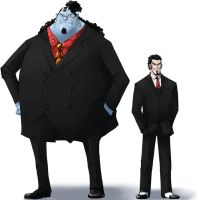 Jinbe and Mihawk in suits by yang