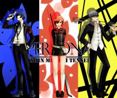 Persona 3, 4: Protagonists by lewd-dodo