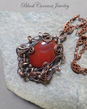 Carnelian Agate and Copper Art Nouveau Pendant by blackcurrantjewelry