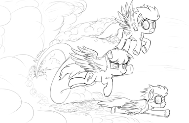 Rainobw Dash Flying With The Wonderbolts by ohthatandy