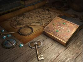 Map, Books and Lost to the Ages by Minomi9