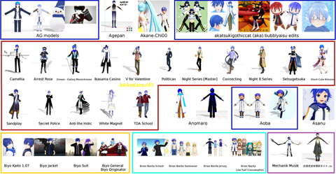 MMD Kaito models A-B (except Animasa style) by SteelDollS