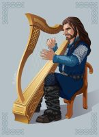 Thorin Playing Harp by Norloth