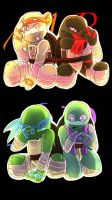 Dimension jumpers tmnt AU chibis by BrassWarrior
