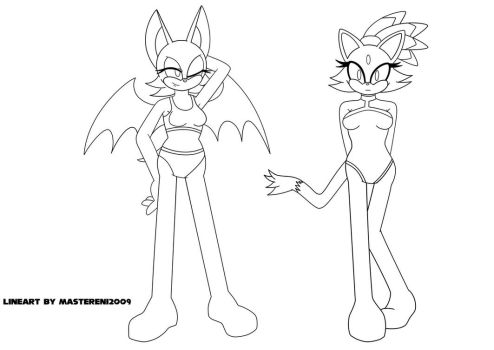 Summer Time 2018 Lineart - Rouge and Blaze by MasterEni2009