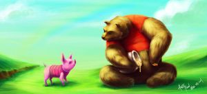 Pooh and piglet by skyknightnd