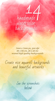 14 Watercolor Handmade Artistic Backgrounds by saimana