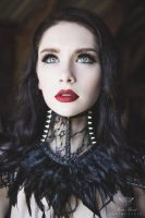 Black lace feather spike gothic punk neck corset by mysticthread
