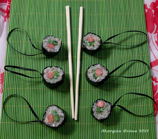 Salmon Roll Maki Glitter Sushi Ornaments by MorganCrone
