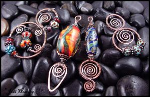 Copper and Lampwork Pendants by andromeda