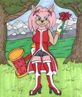 Anthro Amy Colored by CollinScorpio
