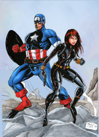 Captain America and Black Widow by marcel815