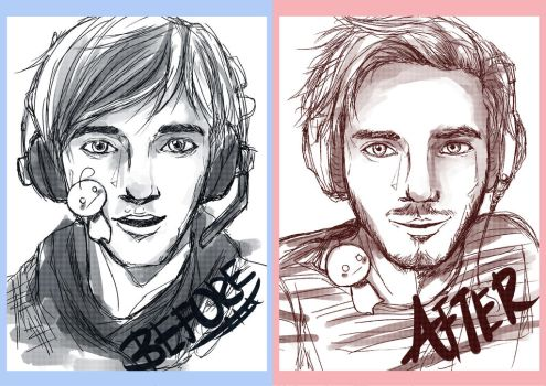 Pewdiepie Before and After by tickle90cat