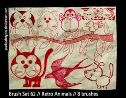 Brush Set 62 - Retro Animals by punksafetypin
