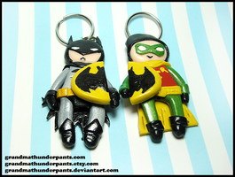 Batman and Robin Keychain Set by GrandmaThunderpants