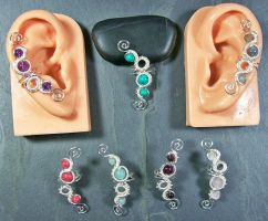 Woven Gemstone Ear Cuff by HeatherJordanJewelry