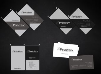 business card for prodev by sounddecor