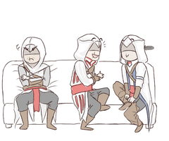 Altair, Ezio and Connor by JJ-Power