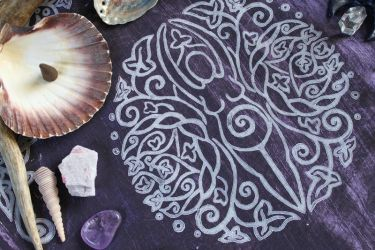 Spiral Goddess Altar Cloth 02- Colour Other Side by ImogenSmid