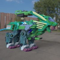 Robot Lion in a Parking Lot by VanishingPointInc