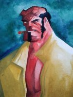 Hellboy watercolors by BOTAGAINSTHUMANITY