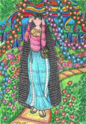 Girl With Flowers 2 by Meztli72