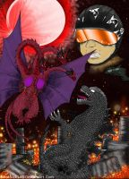 Godzilla Vs Queen Ghidorah by SaintNick14