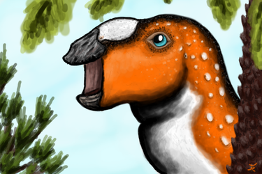 Happy Duckbill (Hadrosauroidea indet.) by FossilCrafter
