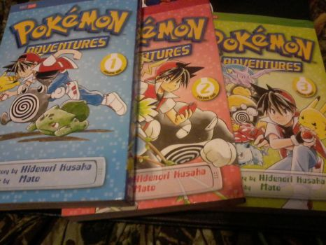 Pokemon adventure volume 1, 2, and 3 by jd23hedz