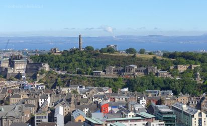 Calton Hill from Salisbury Crags by bobswin