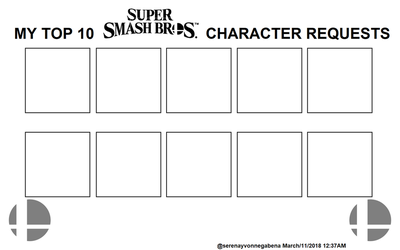 My Top 10 SSB Switch Character Requests by SerenaYvonneGabena