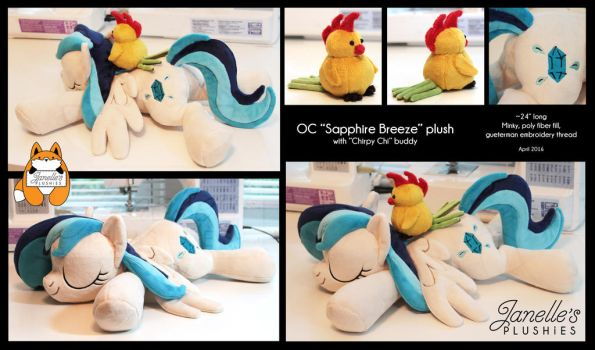 OC Sapphire Breeze sleeping pony with Chirpy Chi by JanellesPlushies